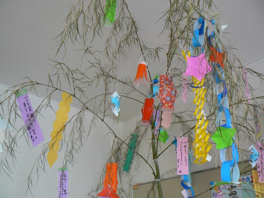天井まである大きな竹をデイルームに飾りました。利用者に色々な色の飾りを作ってもらい、短冊にお願いごとを其々書いて飾りました。みなさん、何をおねがいしたのかな~?